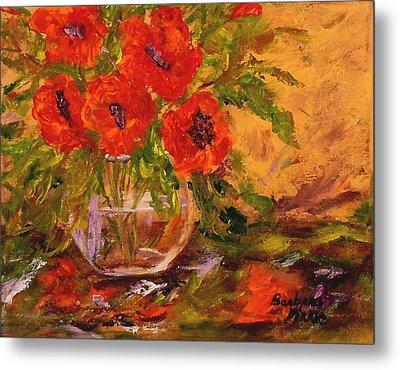 Vase Of Poppies Metal Print by Barbara Pirkle