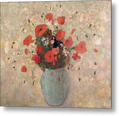 Vase Of Poppies Metal Print by Odilon Redon