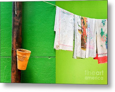 Metal Print featuring the photograph Vase Towels And Green Wall by Silvia Ganora