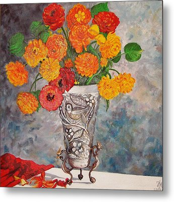 Metal Print featuring the painting Vase With Bird by Nina Mitkova