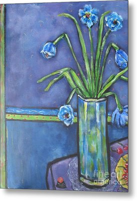 Vase With Blue Flowers And Cherries Metal Print by Chaline Ouellet
