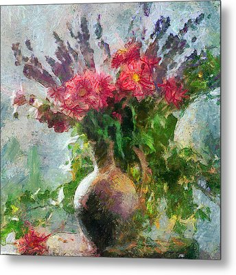 Vase With Red And Blue Flowers Metal Print