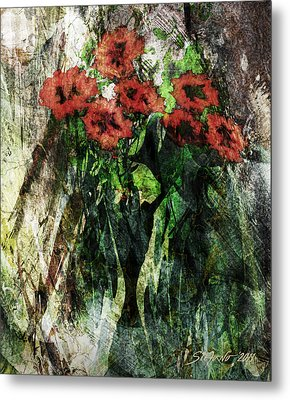 Vase With Red Flowers Metal Print by Stefano Popovski