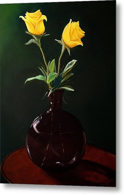 Vase With Yellow Roses Metal Print