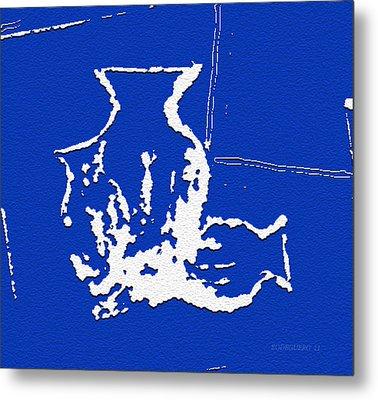 Vases In Blue Metal Print by Mario Perez