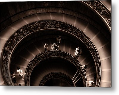 Metal Print featuring the photograph Vatican Museum Spiral Staircase by Rob Tullis