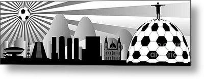 vector Rio skyline with ball Metal Print by Michal Boubin