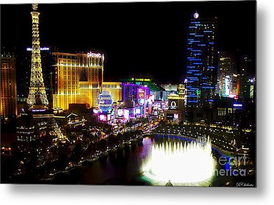 Vegas At Night Metal Print by Barbara Chichester