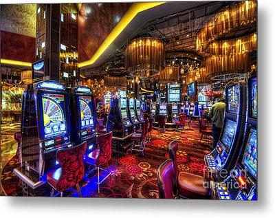 Vegas Slot Machines Metal Print by Yhun Suarez