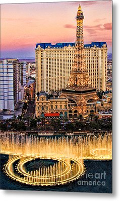 Vegas Water Show Metal Print by Tammy Espino