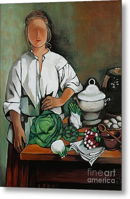 Vegetable Lady Wall Art Metal Print by William Cain