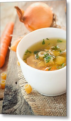 Vegetable Soup With Pasta Metal Print by Mythja  Photography