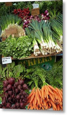 Vegetable Stall, Saturday Market Metal Print by David Wall