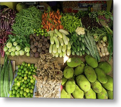 Vegetables For Sale On Main Street Metal Print by Panoramic Images