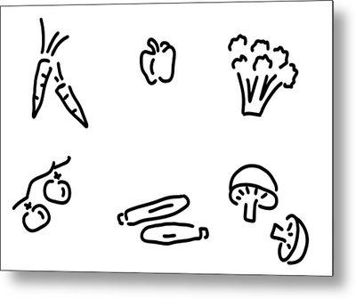 Vegetables Mushrooms Metal Print by Lineamentum