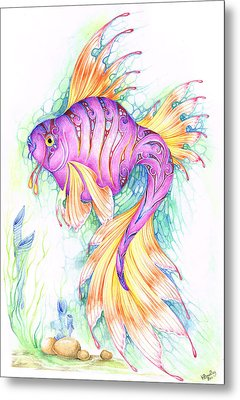 Veiltail Fairy Fish Metal Print by Heather Bradley