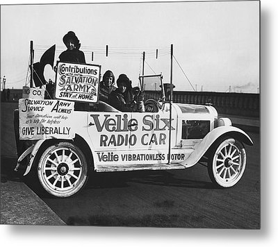 Velie Six Radio Car Metal Print by Underwood & Underwood