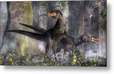 Velociraptors Hunting Metal Print