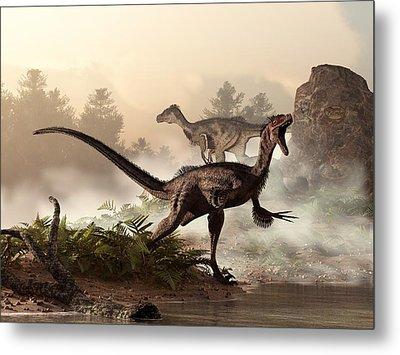 Velociraptors Prowling The Shoreline Metal Print