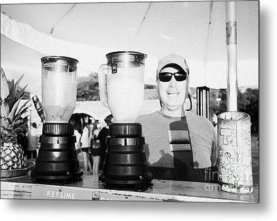 Vendor Selling Fresh Fruit Drinks Slushies At Mallory Square Key West Florida Usa Metal Print