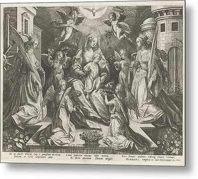 Veneration Of Mary With The Christ Child With St Metal Print