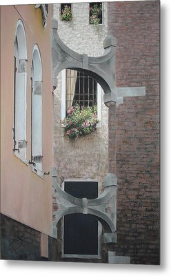 Metal Print featuring the pastel Venetian Buttresses - Pastel by Ben Kotyuk