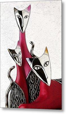 Metal Print featuring the drawing Venetian Cats by Selke Boris