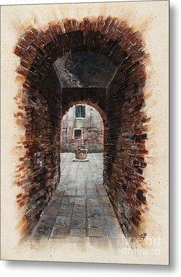 Metal Print featuring the painting Venetian Courtyard 01 Elena Yakubovich by Elena Yakubovich