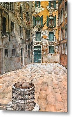 Venetian Courtyard 02 Elena Yakubovich Metal Print