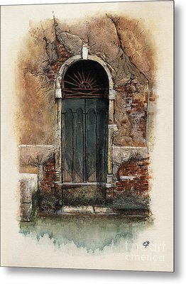 Metal Print featuring the painting Venetian Door 01 Elena Yakubovich by Elena Yakubovich