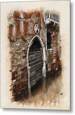 Metal Print featuring the painting Venetian Door 03 Elena Yakubovich by Elena Yakubovich