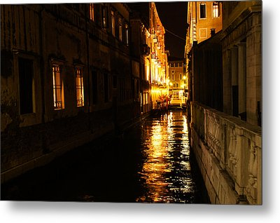 Metal Print featuring the photograph Venetian Golden Glow by Georgia Mizuleva