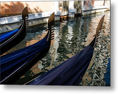Metal Print featuring the photograph Venetian Gondolas by Georgia Mizuleva