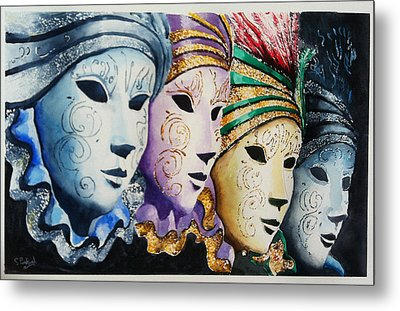 Metal Print featuring the painting Venetian Masks by Steven Ponsford
