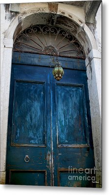 Venetian Old Blue Door Metal Print