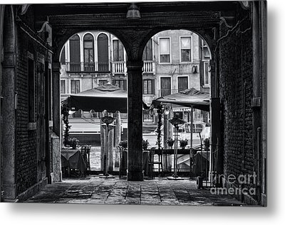 Venetian Street Black And White Metal Print by Design Remix