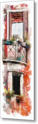 Metal Print featuring the painting Venetian Windows 4 by Greg Collins