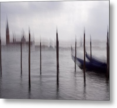 Abstract Black And White Blue Venice Italy Photography Art Work Metal Print by Artecco Fine Art Photography