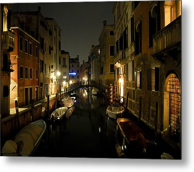 Metal Print featuring the photograph Venice At Night by Silvia Bruno
