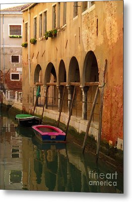 Venice Boats On Canal Metal Print