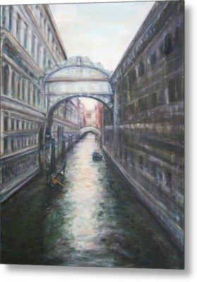Venice Bridge Of Sighs - Original Oil Painting Metal Print by Quin Sweetman