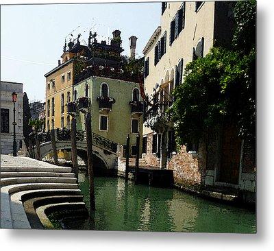 Venice Canal Summer In Italy Metal Print by Irina Sztukowski