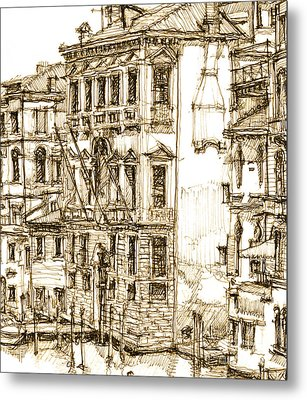 Venice Details In Sepia  Metal Print by Adendorff Design