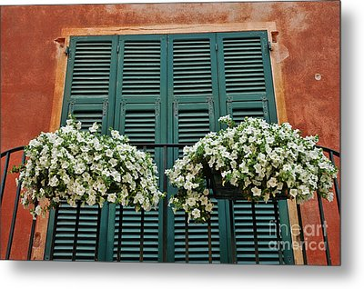 Metal Print featuring the photograph Venice Flower Balcony 2 by Allen Beatty