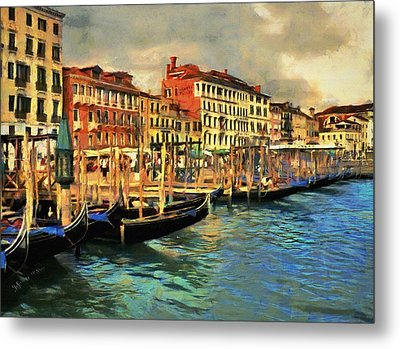 Metal Print featuring the painting Venice From The Water by Jeff Kolker