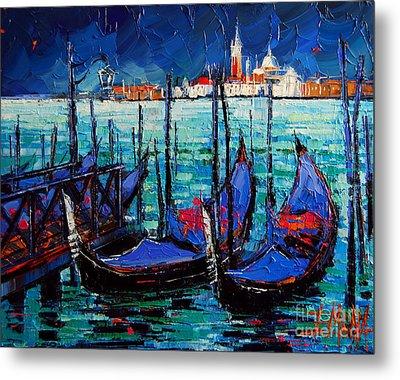 Venice Gondolas And San Giorgio Maggiore Metal Print by Mona Edulesco