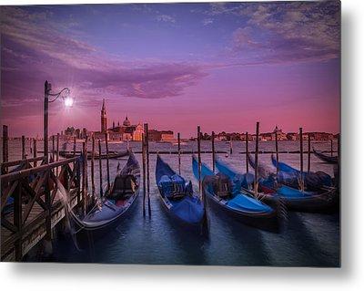 Venice Gondolas At Sunset Metal Print by Melanie Viola