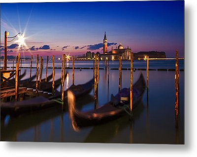 Venice Gondolas During Blue Hour Metal Print by Melanie Viola