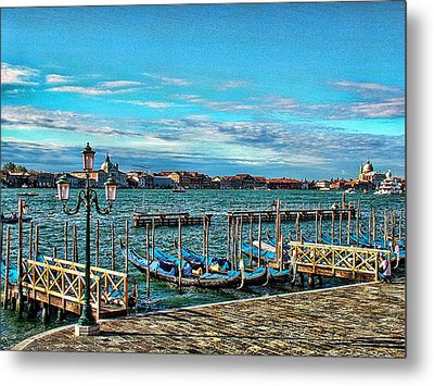 Metal Print featuring the photograph Venice Gondolas On The Grand Canal by Kathy Churchman