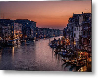 Venice Grand Canal At Sunset Metal Print by Photography By Karen